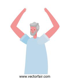 Senior man cartoon with hands up vector design