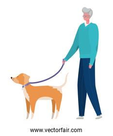 Senior man cartoon with dog vector design