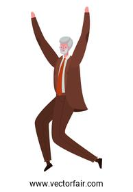 Senior man cartoon jumping vector design