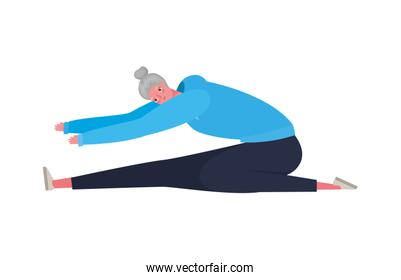 Senior woman cartoon with sportswear stretching vector design