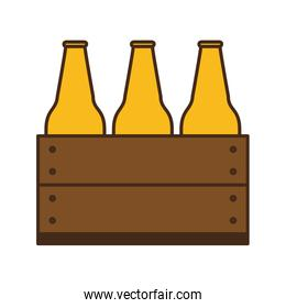 beer bottles in basket line and fill style icon vector design