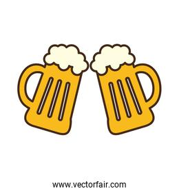 beer glasses line and fill style icon vector design