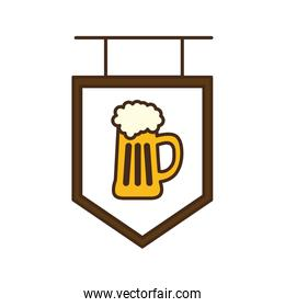 beer glass on banner line and fill style icon vector design