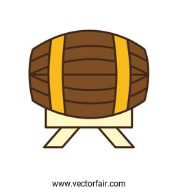 beer barrel line and fill style icon vector design