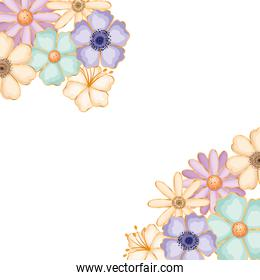 Isolated blue purple and white flowers vector design