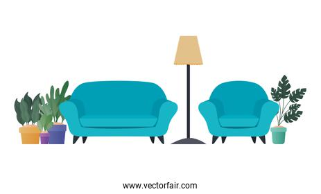 blue couch and chair with plants vector design