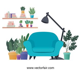 blue chair lamp and plants vector design