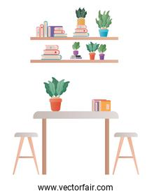 table with chairs plant and books vector design