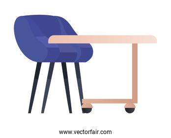 Isolated table with blue chair vector design