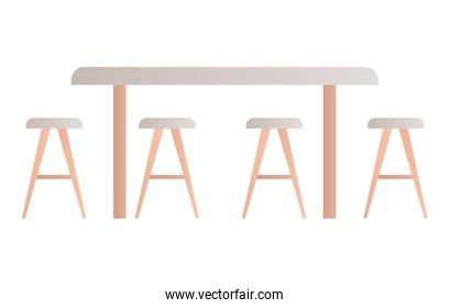 Isolated table with chairs vector design