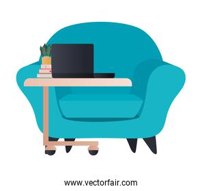 blue chair with laptop on table isolated icon