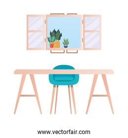 desk with chair in front of window with plants vector design