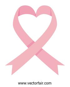heart pink ribbon of breast cancer awareness vector design