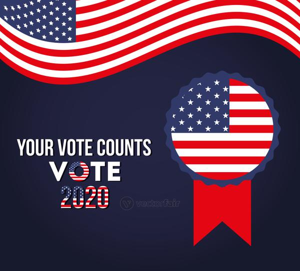 your vote counts 2020 with usa seal stamp vector design