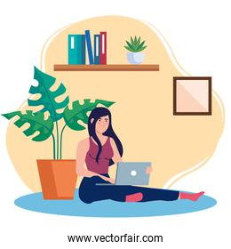 home working, freelancer woman sitting in floor, working from home in relaxed pace, convenient workplace