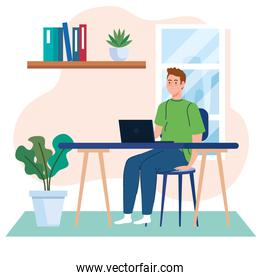home working, freelancer young man with laptop in desk, working from home in relaxed pace, convenient workplace