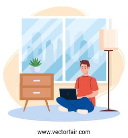 home working, freelancer man sitting in floor, working from home in relaxed pace, convenient workplace