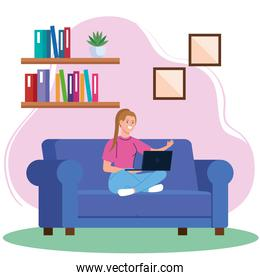 home working, freelancer young woman with laptop in sofa, working from home in relaxed pace, convenient workplace