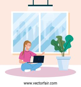 home working, freelancer young woman sitting in floor, working from home in relaxed pace, convenient workplace