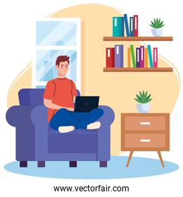 home working, freelancer young man with laptop in sofa, working from home in relaxed pace, convenient workplace