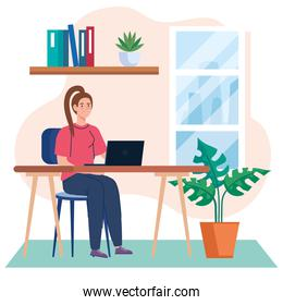 home working, freelancer young woman with laptop in desk, working from home in relaxed pace, convenient workplace