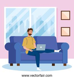 home working, freelancer man with laptop in sofa, working from home in relaxed pace, convenient workplace