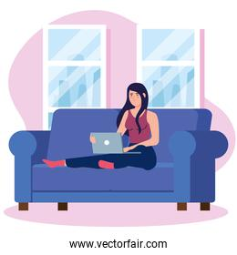 home working, freelancer woman with laptop in sofa, working from home in relaxed pace, convenient workplace