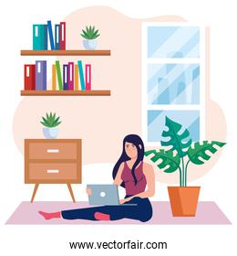 home working, freelancer young woman sitting in floor, working from home on relaxed pace, convenient workplace