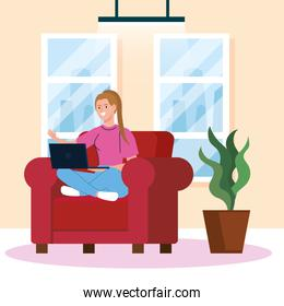 home working, freelancer young woman with laptop on sofa, working from home in relaxed pace, convenient workplace