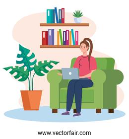 home working, freelancer woman with laptop on sofa, working from home in relaxed pace, convenient workplace