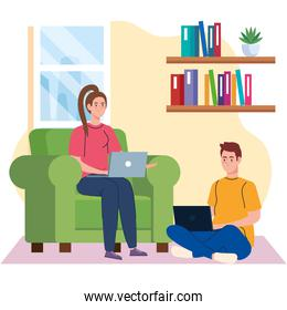 home working, freelancer young couple with laptops in living room, working from home in relaxed pace, convenient workplace