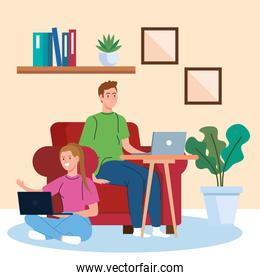 home working, freelancer couple with laptops in living room, working from home in relaxed pace, convenient workplace