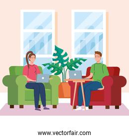 home working, freelancer young couple with laptops in the living room, working from home in relaxed pace, convenient workplace