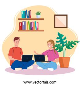 home working, freelancer couple sitting in floor, working from home in relaxed pace, convenient workplace