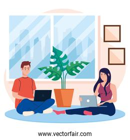 home working, freelancer young couple sitting in floor, working from home in relaxed pace, convenient workplace