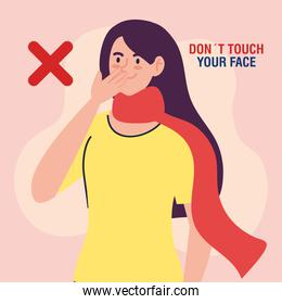 do not touch your face, woman with scarf, avoid touching your face, coronavirus covid19 prevention