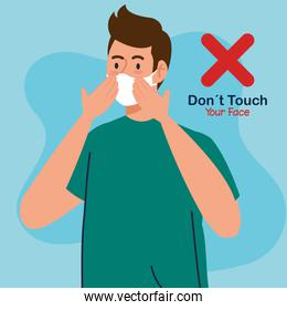 do not touch your face, young man using face mask, avoid touching your face, coronavirus covid19 prevention