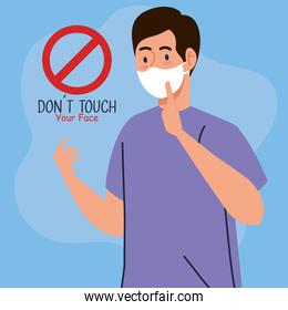 do not touch your face, man using face mask, avoid touching your face, coronavirus covid19 prevention