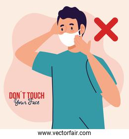 do not touch your face, young man wearing face mask, avoid touching your face, coronavirus covid19 prevention