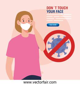 do not touch your face, young woman using face mask and coronavirus particle in signal prohibited, avoid touching your face, coronavirus covid19 prevention