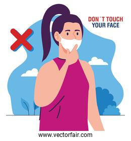 do not touch your face, woman wearing face mask, avoid touching your face, coronavirus covid19 prevention