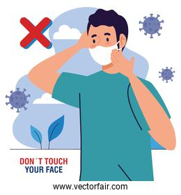 do not touch your face, man using face mask outdoor, avoid touching your face, coronavirus covid19 prevention