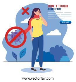 do not touch your face, woman with scarf outdoor, avoid touching your face, coronavirus covid19 prevention