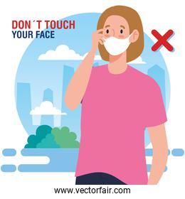 do not touch your face, woman using face mask, avoid touching your face, coronavirus covid19 prevention