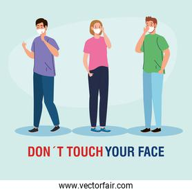 do not touch your face, people using face mask, avoid touching your face, coronavirus covid19 prevention