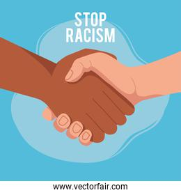 stop racism, with two joined hands, black lives matter concept