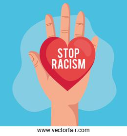 stop racism, and hand with heart, black lives matter concept
