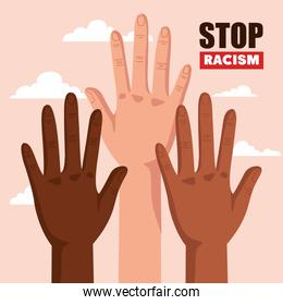 stop racism, with hands and cloud on background, concept of black lives matter