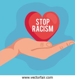 stop racism, with hand receiving heart, black lives matter concept