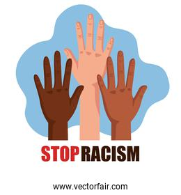 stop racism, with three hands, black lives matter concept